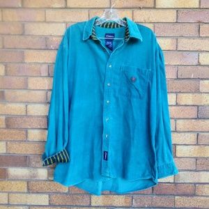 Catalina Corduroy Crested Button Down Shirt Teal L